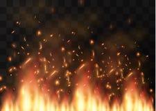 Élément transparent d'effet spécial du feu réaliste de vecteur Une flamme chaude éclate Feu de camp Recouvrement de la chaleur Le Images libres de droits