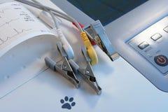 Élément vétérinaire d'ECG avec des électrodes de crocodile Photographie stock