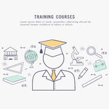 Éléments éducatifs pour le cours de formation illustration stock