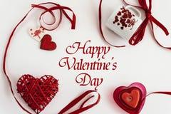 Éléments élégants d'amour de coeur sur le fond blanc, valentine heureuse Images stock