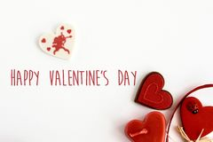 Éléments élégants d'amour de coeur sur le fond blanc, valentine heureuse Photo stock