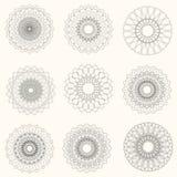 Éléments abstraits de guilloche de vecteur sur le fond blanc Utilisation pour Photographie stock