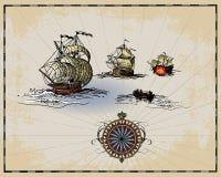 Éléments antiques de carte illustration stock