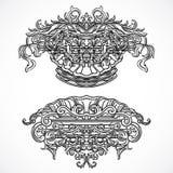Éléments architecturaux de conception de détails de vintage Cartouche classique baroque antique de style dans le style de gravure Photo stock