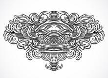 Éléments architecturaux de conception de détails de vintage Cartouche classique baroque antique de style dans le style de gravure Image libre de droits