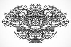 Éléments architecturaux de conception de détails de vintage Cartouche classique baroque antique de style dans le style de gravure Photographie stock