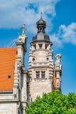 Éléments architecturaux du bâtiment d'Hôtel de Ville à Leipzig, le centre ville, Allemagne, été image stock