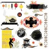 Éléments asiatiques de conception illustration de vecteur