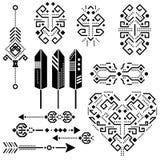 Éléments aztèques tribals de pochoir de vecteur Photos libres de droits