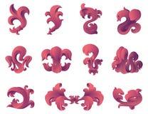 Éléments baroques de conception graphique de type. Photographie stock libre de droits