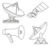 Éléments blancs noirs de télécommunication de schéma 4 illustration de vecteur