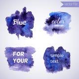 Éléments bleus de conception d'aquarelle Images libres de droits