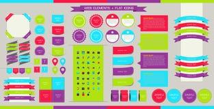Éléments, boutons et étiquettes de Web de vecteur Navigation de site, IC plat Illustration Stock
