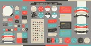 Éléments, boutons et étiquettes de Web de vecteur Site Navi Photos stock
