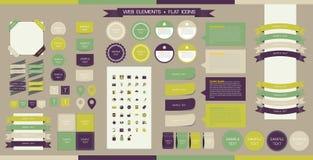 Éléments, boutons et étiquettes de Web de vecteur Site Navi Illustration Stock