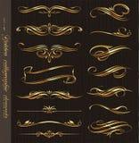 Éléments calligraphiques d'or de conception Images stock