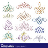 Éléments calligraphiques de conception Photos stock
