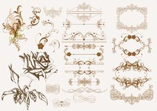 Éléments calligraphiques de conception de cru Photographie stock