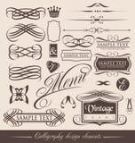Éléments calligraphiques de conception de cru Photo stock