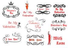 Éléments calligraphiques et de vintage pour Valentine illustration de vecteur