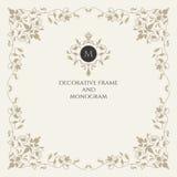 Éléments classiques Monogramme et cadre Éléments classiques de conception pour épouser des invitations Images stock
