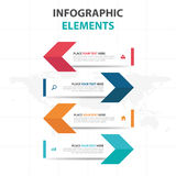 Éléments colorés abstraits d'Infographics d'affaires de flèche, illustration plate de vecteur de conception de calibre de présent illustration libre de droits