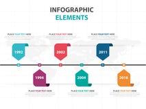 Éléments colorés abstraits d'Infographics de chronologie d'affaires de label, illustration plate de vecteur de conception de cali illustration de vecteur