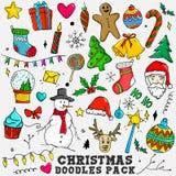 Éléments colorés de paquet de croquis de griffonnages de Noël illustration libre de droits