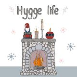 Éléments confortables de hygge d'illustration de vecteur illustration libre de droits