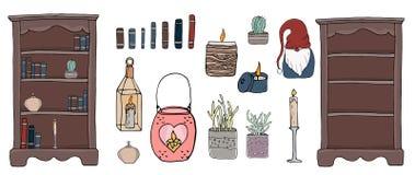 Éléments confortables de hygge d'illustration de vecteur illustration stock