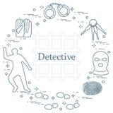Éléments criminels et révélateurs Vecteur i de crime, de loi et de justice Illustration Stock