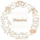Éléments criminels et révélateurs Vecteur i de crime, de loi et de justice Illustration de Vecteur