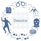 Éléments criminels et révélateurs Vecteur i de crime, de loi et de justice Illustration Libre de Droits