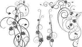 Éléments décoratifs avec les roses noires Images libres de droits