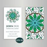 Éléments décoratifs de cru Cartes de visite professionnelle de visite Floral ornemental Modèle oriental, illustration L'Islam, tu Photo stock