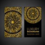 Éléments décoratifs de mandala d'or réglé de carte de visite professionnelle de visite Éléments décoratifs de cru L'Islam, l'arab Photographie stock