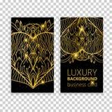Éléments décoratifs de mandala d'or réglé de carte de visite professionnelle de visite Éléments décoratifs de cru L'Islam, l'arab Images libres de droits