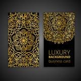 Éléments décoratifs de mandala d'or réglé de carte de visite professionnelle de visite Éléments décoratifs de cru L'Islam, l'arab Image libre de droits