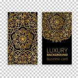 Éléments décoratifs de mandala d'or réglé de carte de visite professionnelle de visite Éléments décoratifs de cru L'Islam, l'arab Photos libres de droits