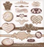 Éléments décoratifs le jour de Valentine Images libres de droits