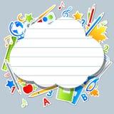 Éléments d'école avec la bulle de la parole Images stock