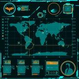 Éléments d'écran de carte de navigation de HUD Images stock
