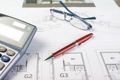 Éléments d'affaires et retraits d'architecte Images libres de droits