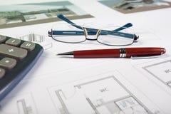 Éléments d'affaires et retraits d'architecte Photographie stock libre de droits