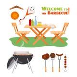 Éléments d'affiche de BBQ de barbecue illustration stock