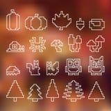 Éléments d'automne avec le fond brouillé, ensemble de pixel de vecteur Photographie stock libre de droits