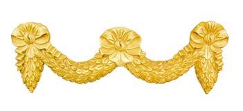 Éléments d'or de décoration de stuc d'ornement sur le blanc Photographie stock