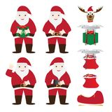 Éléments d'ensemble et de Noël de Santa Claus Christmas Characters illustration stock