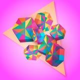 éléments 3D géométriques Polygones colorés Illustration de vecteur Photos stock