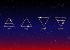 Éléments d'icône : Air, la terre, le feu et l'eau Symboles de divination de Wiccan Symboles occultes antiques, illustration de ve Photos stock